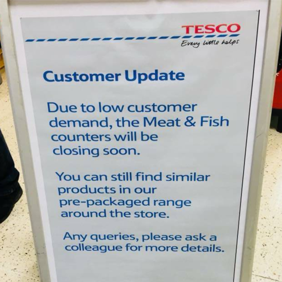 Tesco Meat Counter Notice